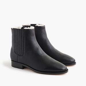 J. Crew Sherpa Lined Chelsea Boots / Black Leather